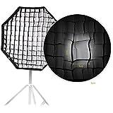 Andoer 80cm / 31.5in Octagon parapluie Softbox Brolly réflecteur avec Honeycomb grille en fibre de carbone Support pour Speedlite Flash Light