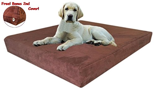 55''X47''X4'' Chocolate Brown Anti Slip Washable Microfiber Suede Waterproof Orthopedic True Solid High Density Memory Foam Therapeutic Pad Pet Super Big Dog Bed Crate Free 2Nd External Washable Cover