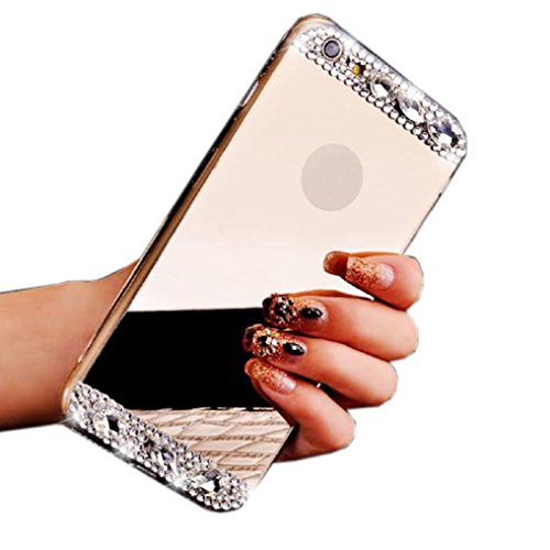 IPhone 6s Case, Tenworld Bling Diamond Mirror Back TPU Soft Back Cover For iPhone 6/6S 4.7inch (Gold)