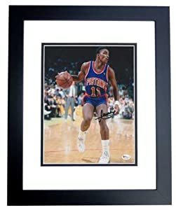 Isiah Thomas Autographed  Hand Signed Detroit Pistons 8x10 Photo - BLACK CUSTOM FRAME by Real Deal Memorabilia