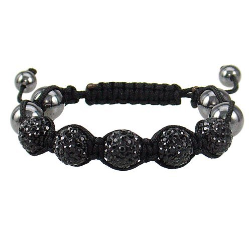 11mm 5ball Adjustable Hip Hop Macrame Braided Shiny Black Color Stone Bracelet; Comes With FREE Gift Box
