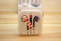 KARP Fancy Printed Designer Earphone for Apple iPhone/Android Mobiles/Tablets with Mic (USA Flag)