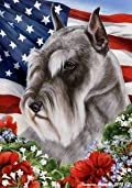 Schnauzer Grey Cropped Dog - Tamara Burnett Patriotic I Garden Dog Breed Flag 12'' x 17''