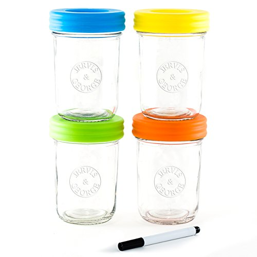 Glass Baby Food Storage Containers - Set contains 4 Small Reusable 8oz Jars with Airtight Lids - Safely Freeze your Homemade Baby Food (Spice Jars 6oz compare prices)