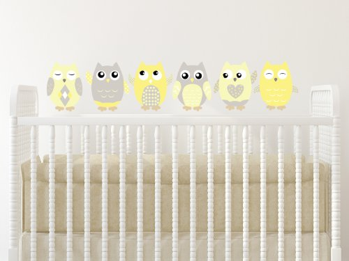 """Owl Fabric Wall Decals, Set Of 6 Owls Wall Stickers, Yellow, Grey, White, Non-Toxic, Reusable, Repositionable - Size Medium - 8"""" Tall"""
