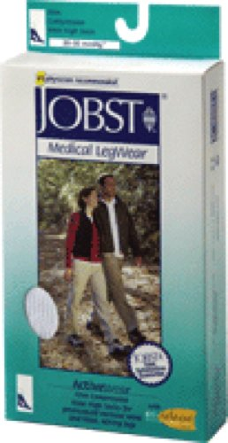 BSN Jobst ActiveWear Knee High Firm Compression Socks Large, Cool White, Closed Toe, Unisex, Latex-free (Pair of 2 Each)
