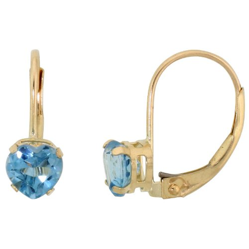 9ct Gold Leverback Heart Earrings w/ 5mm December Birthstone ( Natural Blue Topaz Stone ), 9/16 in. (14mm) tall