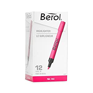 Berol Chisel Tip Highlighters, Pink, Box of 12 (64327)