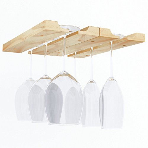 Hanging Under Cabinet Stemware Wine Glass Holder Rack , Adjustable Natural Wood (Hanging Wood Wine Rack compare prices)
