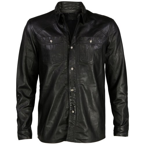 VIPARO Black Lambskin Leather Collared Light Jacket Over Shirt - Clint altamont salman shirt jacket black