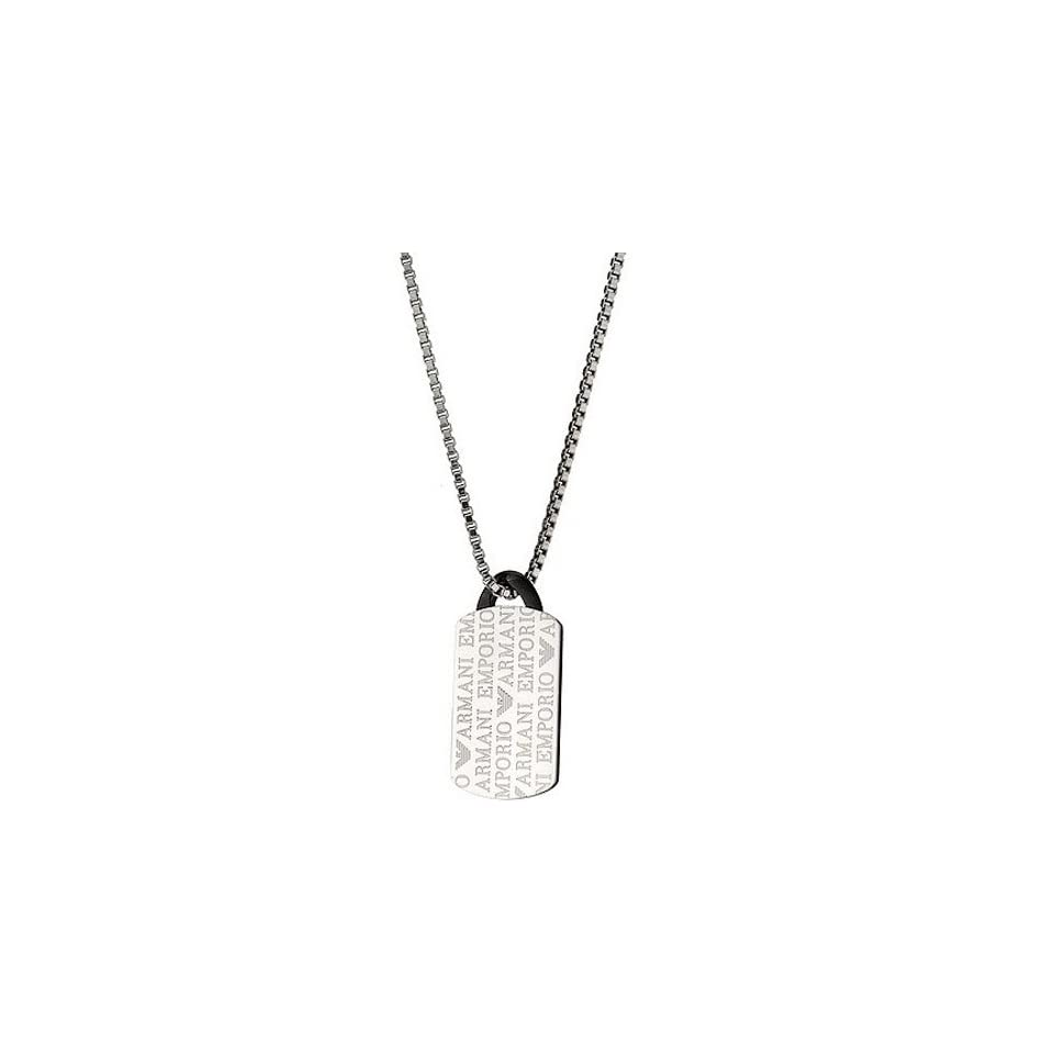 Emporio Armani EGS1156 Mens Silver Tone Stainless Steel Dog Tag Necklace