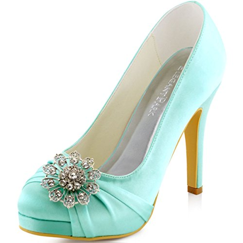 ElegantPark EP2015 Women Pumps Closed Toe Platform High Heel Buckle Satin Prom Evening Dress Shoes Mint US 10