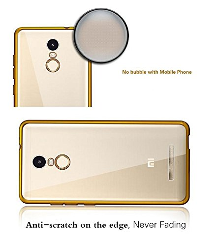 quality design 642b0 bb419 Techno TrendZ (TM) Crystal Clear Totu Silicone Transparent Flexible Soft  Golden Border Corner protection Slim Back Case Back Cover For Xiaomi Mi  Note ...