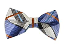 100% Silk Woven Periwinkle Grandiose Plaid Self-Tie Bow Tie