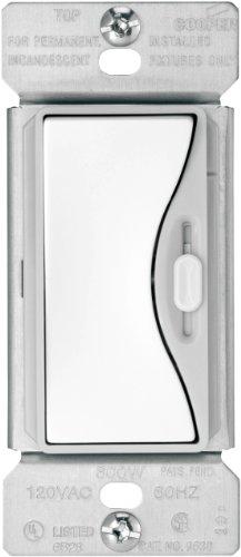 Cooper Wiring Devices 9530Ws-K 600-Watt, 120-Volt, 60-Hertz Aspire Single-Pole/3-Way Slide Dimmer With Preset, White Satin