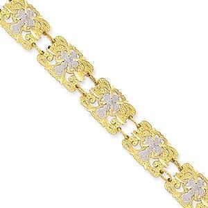 14K Gold & Rhodium Fancy Cross Bracelet - 7.5 Inch