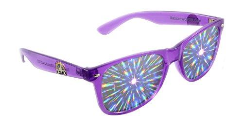 Rainbow OPTX Fireworks Diffraction Glasses Plastic Rave Glasses (Transparent Violet / Clear Lenses)