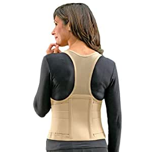 Cincher Women's Posture Back Brace Support Belt - White - Medium 34-38 Inch Hip by FLA Orthopedics