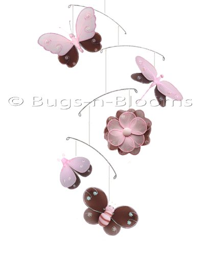 Brown Pink Hailey Butterfly Dragonfly Ladybug Flower Bee Nylon Mobile Decorations. Decorate For A Baby Nursery Bedroom, Girls Room Hanging Ceiling Decor, Wedding Birthday Party, Bridal Baby Shower, Bathroom. Butterflies Ladybugs Mobiles Decoration front-994274