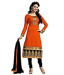 Regalia Ethnic New Collection Orange And Black Chanderi Cotton Embroidered Unstitched Dress Material With Matching Dupatta