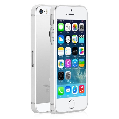 Amtonseeshop Hot Selling Brand New Luxury Ultra Thin Metal Aluminium Alloy Bumper Frame Case For Iphone 5 5S (Silver)