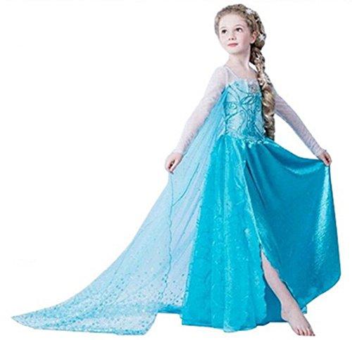 ELSA & ANNA® Ragazze Principessa abiti partito Vestito Costume IT-Dress-SEP302 (IT-SEP302, 5-6 Anni)