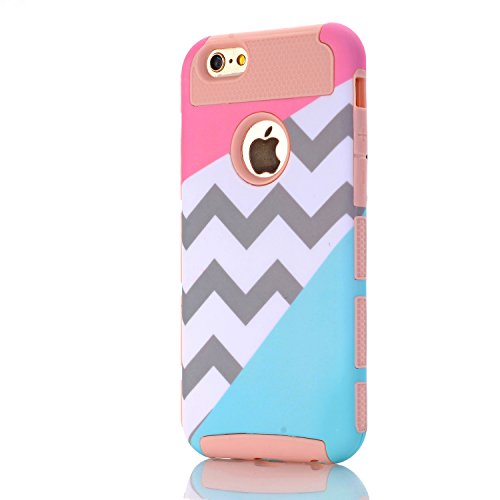 iPhone 5C Case,LUOLNH [2in1] Heavy Duty Hybrid Hard Case for Apple Iphone 5c -powder Blue Mint Teal and Coral Pink Split Chevron Design Cover(Rose Gold) (Iphone Accesories 5c compare prices)
