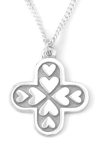 Bob Siemon Sterling Silver Hearts Cross Pendant, 18