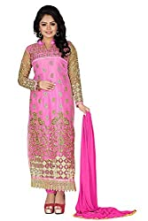 JHEENU Pink Women's Net and Faux Georgette unstitched Straight Salwar Suit dr...