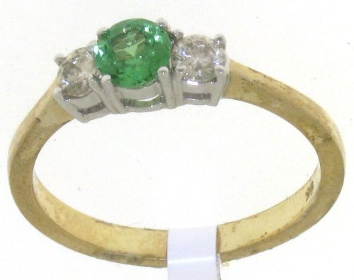 Funky 9 ct Gold Ladies Fancy Diamond Ring Brilliant Cut 0.10 Carat with Tsavorite