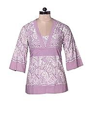 Dorabella Purple Cotton Printed Top N1H1535