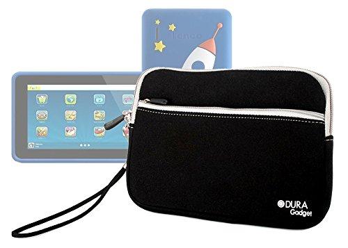 Duragadget Black Tough Water & Scratch Resistant Neoprene Zip Case For New Lenco Kidztab-520 Mini / Kidztab-73 / Kidztab-70 front-898102