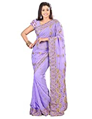 101cart Entrancing Light Purple Colored Embroidered Faux Georgette Saree