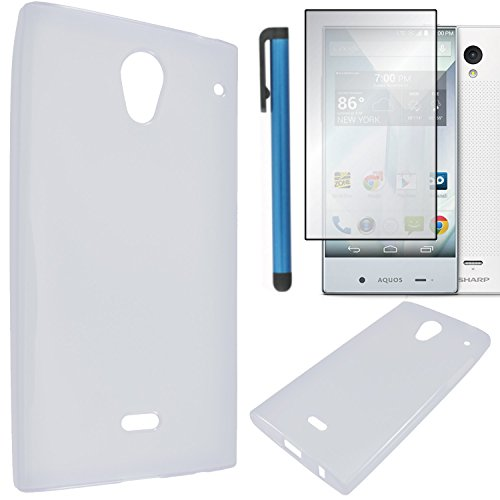 Sharp Aquos Crystal Case Combo(3-items) - Soft Rubber TPU GEL Skin Candy Case (Translucent Clear)+ICE-CLEAR(TM) Screen Protector Shield(Ultra Clear)+Touch Screen Stylus (Sharp Aquos Phone Case Rubber compare prices)