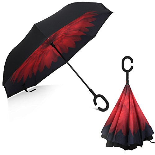Rainlax Inverted Umbrella Double Layer Windproof UV Protection Umbrellas (Black,Red Daisies)