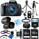 Canon EOS Rebel T5i 18.0 MP CMOS Digital Camera Digital SLR Camera and DIGIC 4 Imaging with EF-S 18-55mm f/3.5-5.6 IS Lens + 58mm 2x Professional Lens +High Definition 58mm Wide Angle Lens + Auto Flash +lightweight Tripod + UV Filter Kit With 24GB Complete Deluxe Accessory Bundle