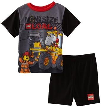 Lego City Big Boys' Truck Pajama Set, Black, 8
