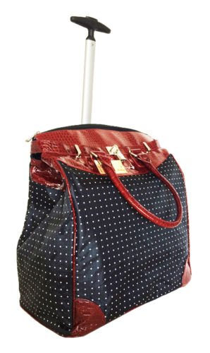 "19""computer/laptop Bag Tote Duffel Rolling Wheel Case Purse Tablet Dots Red Croc"