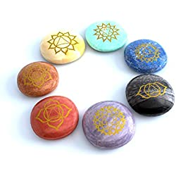 Mystic Ayurveda Healing Crystals - 7 Polished, Engraved Stones to Balance Chakras Holistic Health Care Products