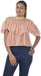 Sahiba Fashions Women's Short Sleeve Top (Peach)