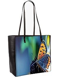 Butterfly In Black Flower Obo, Shoulder Bag Tote Faux Leather Handbag Satchel Tote