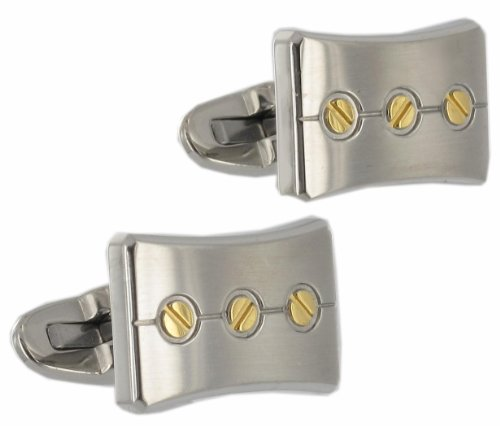 Rochet Roma Stainless Steel Two Tone Screw Design Cufflinks