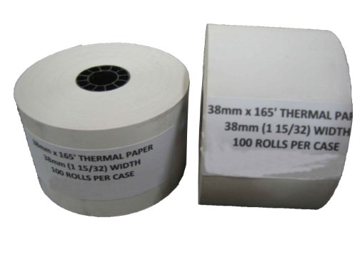 38 MM X 165' CASH REGISTER THERMAL PRINTER POS PAPER ROLL 100 ROLLS / CASE (38mm Thermal Paper compare prices)