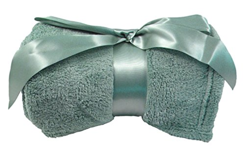 Ashopz Plush Coral Soft Fleece Blanket Throws With Ribbon 42X60, Sage front-992005