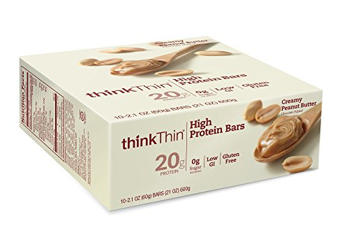 thinkThin High Protein Bars, Creamy Peanut Butter, 2.1 Ounce (pack of 10) (Gluten Free Peanut Butter Bars compare prices)