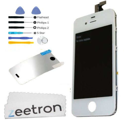 Iphone 4S Front Glass Digitizer Lcd Assembly Replacement Kit White (Includes Tools, Cloth And Microfiber) front-56900