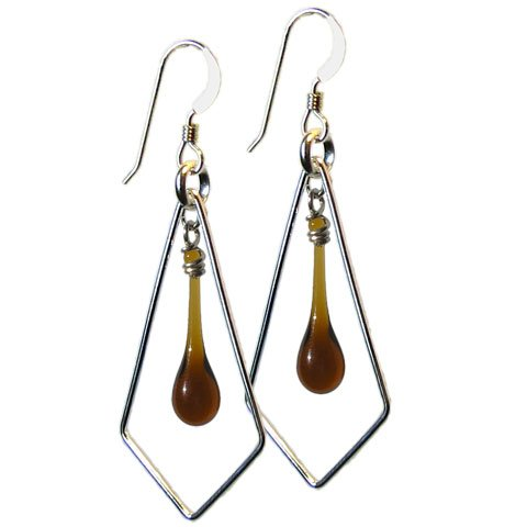 Beer Bottle Brown Sundrop Kite Earrings, recycled glass and sterling silver