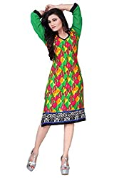 Tulip Collections Women's Cotton Straight Kurta,Green&Black_XL