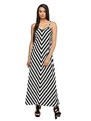 Mayra Women's Crepe Dress (1604D19314_XL Black & white )
