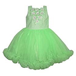 Chokree Green Color Party Wear Dress/Frock for girl